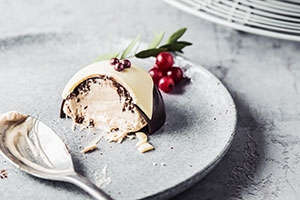 Mousse Filled Chocolate Christmas Pudding