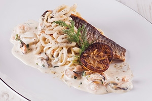 Crispy Sea Bass with Lemon and Garlic Linguini